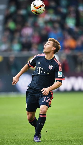 Joshua Kimmich of Muenchen in action during the Bundesliga match between VfL Wolfsburg and FC Bayern Muenchen at Volkswagen Arena on February 27, 2016 in Wolfsburg, Germany.