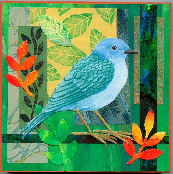 Print of my original mixed media collage of a blue bird on a green background by AlisonsArt on Etsy https://www.etsy.com/listing/179088389/print-of-my-original-mixed-media-collage