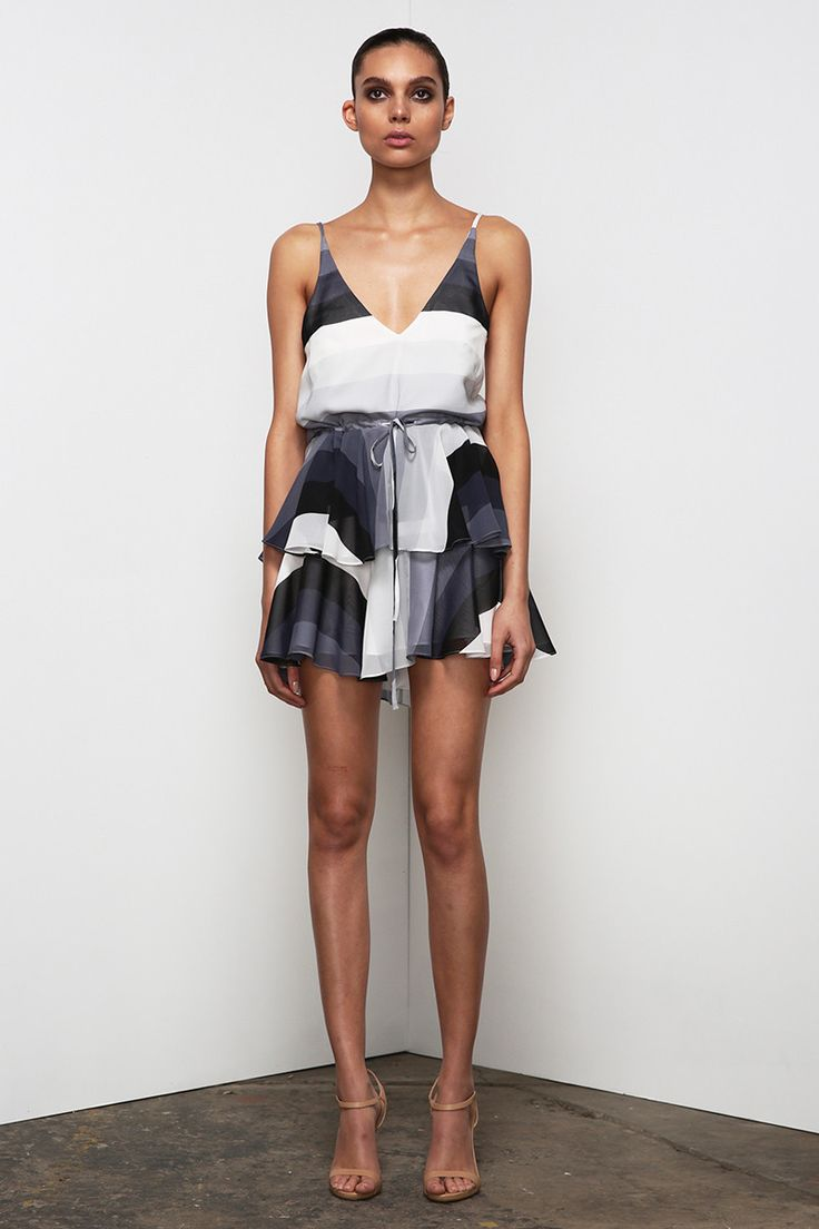 Shona Joy - Horizon Ruffle Drawstring Mini Dress