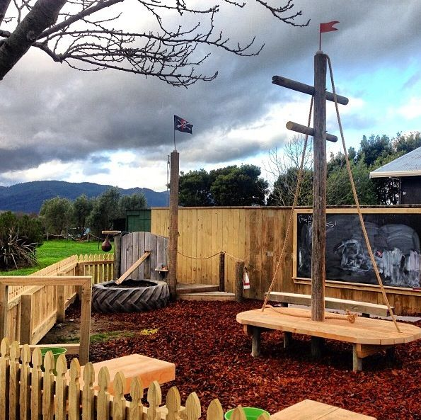 The Pirate Kid's Playground at The Vines Village, 193 Rapaura Road, Marlborough, NZ. Made from mostly recycled and wood materials this play area encourages kids to discover natural play, with stones, rocks, wood and water. A real change from most kids play areas in Marlborough and open to families 7 days a week. #vinesvillage #naturalplay