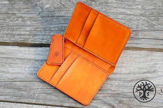 Leather handmade bifold wallet, Natural leather card holder, Slim wallet, Men women wallet, Minimal slim wallet, personalized unique gift