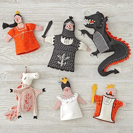 Shop Set of 6 Medieval Hand Puppets.  Use your imagination to throw a puppet show with our Medieval Hand Puppets.  This Set of 6 Medieval puppets are made from wool felt and was exclusively designed by Dinara Mirtalipova.