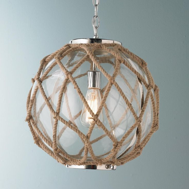101 Indoor Nautical Style Lighting Ideas: Jute Rope Nautical Pendant Glass Bowls Hand-wrapped With