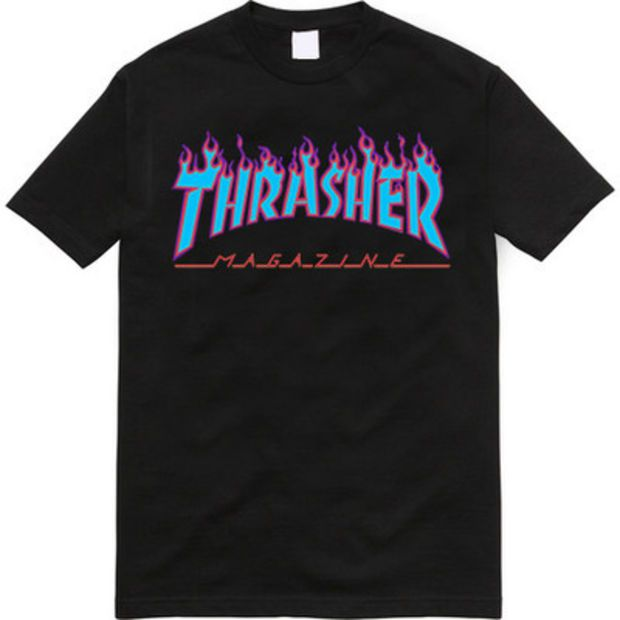 c8355218d96a Discover ideas about Thrasher Magazine. July 2019. Thrasher Magazine Light  Blue Purple Flame Logo Black T-Shirt