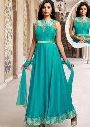Party Wear Satin Sky Blue Resham Work Anarkali Suit