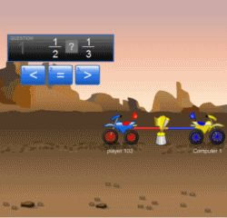 Math Games, Videos, and Worksheets for the Common Core | This one is Dirt Bike Tug Team: Comparing Fractions...great games here!