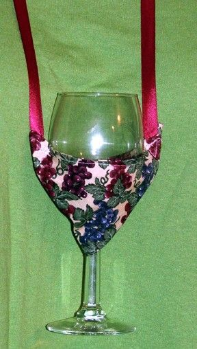 Fabric Wine Glass Holder Necklace