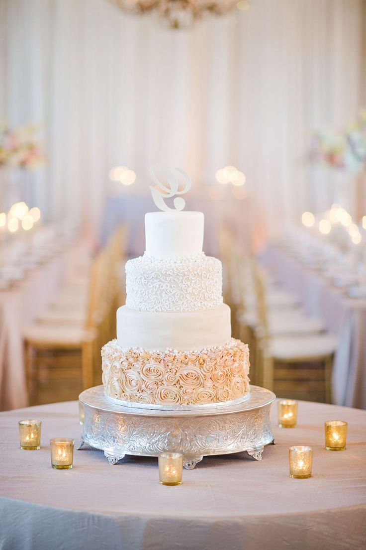 Four Tier Round Champagne and Gold Wedding Cake with Rosebud Pattern and Pearl Initial Cake Topper on Silver Cake Stand | Tampa Wedding Photographer Marc Edwards Photographs
