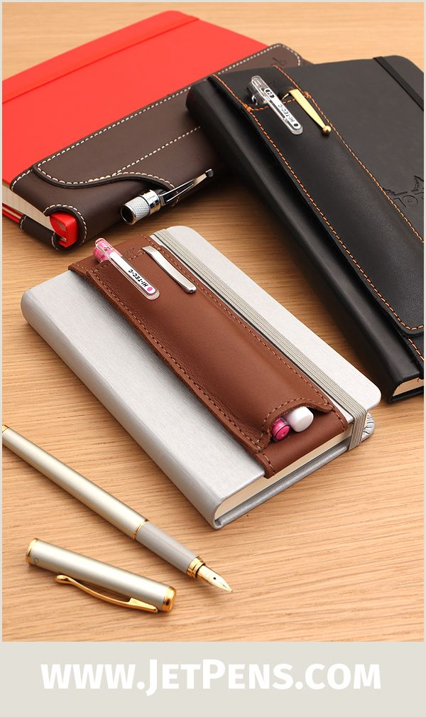 Quiver Double Pen Holders are made of genuine leather and durable elastic and can conveniently hold your favorite pens. They are available in A5 and A6 sizes, and fit snugly on hardcover pocket notebooks by Rhodia and Moleskine.