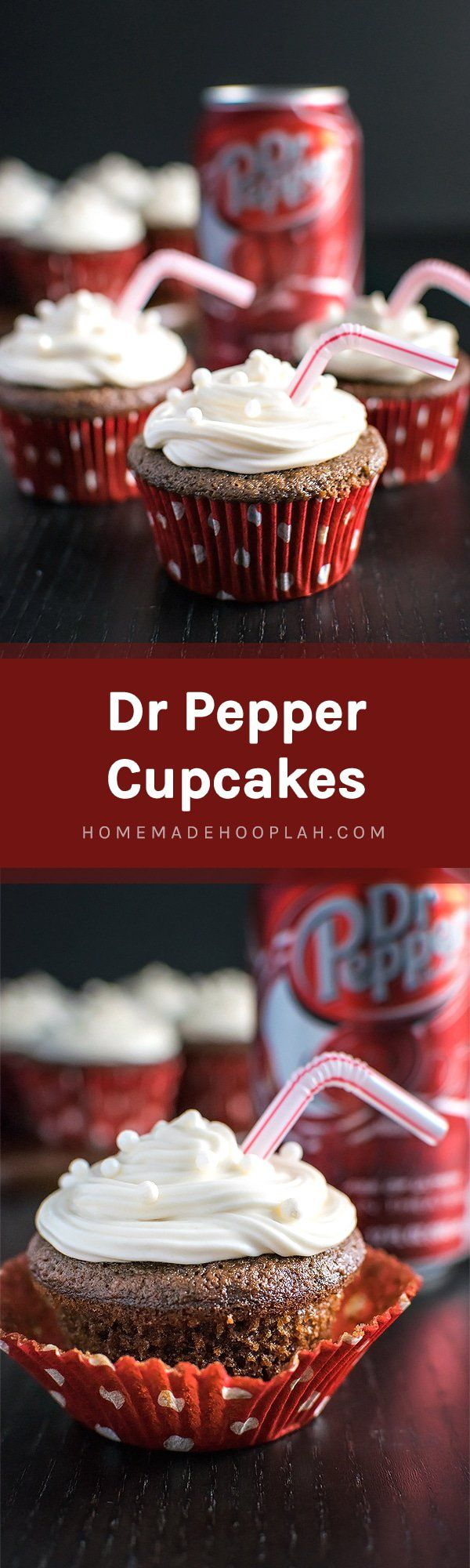 Dr Pepper Cupcakes! Have a Dr Pepper fan in your life? Then they're going to love these! Rich chocolate buttermilk cupcakes with a hint of their favorite fizzy soda.   HomemadeHooplah.com