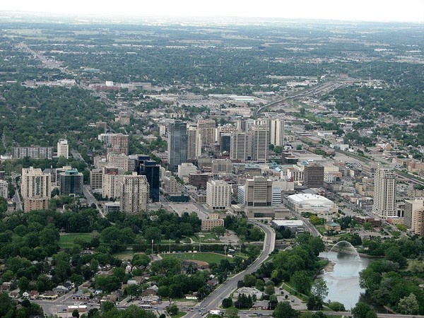 Downtown core plus Labatt Park in the forefront, Budweiser Gardens (JLC) on right past the Thames River.
