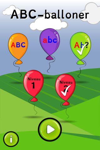 Her lærer man bogtstavernes navne ved at skyde balloner ned. Appen koster 7 kr.