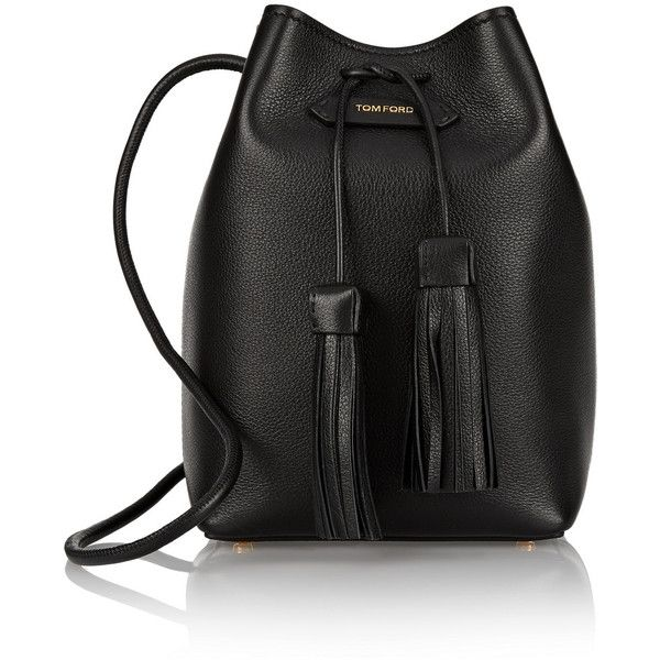 Tom Ford Textured-leather bucket bag ($1,940) ❤ liked on Polyvore featuring bags, handbags, shoulder bags, black crossbody purse, fringe purse, fringe crossbody, over the shoulder bag and fringe bucket bag