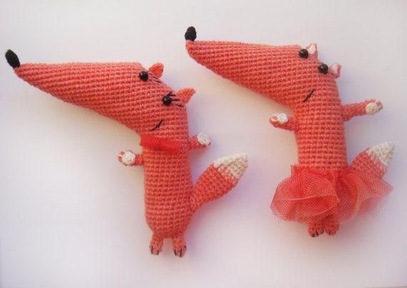 Crochet Fox  Amigurumi Couple foxes Orange fox by RECHIStore