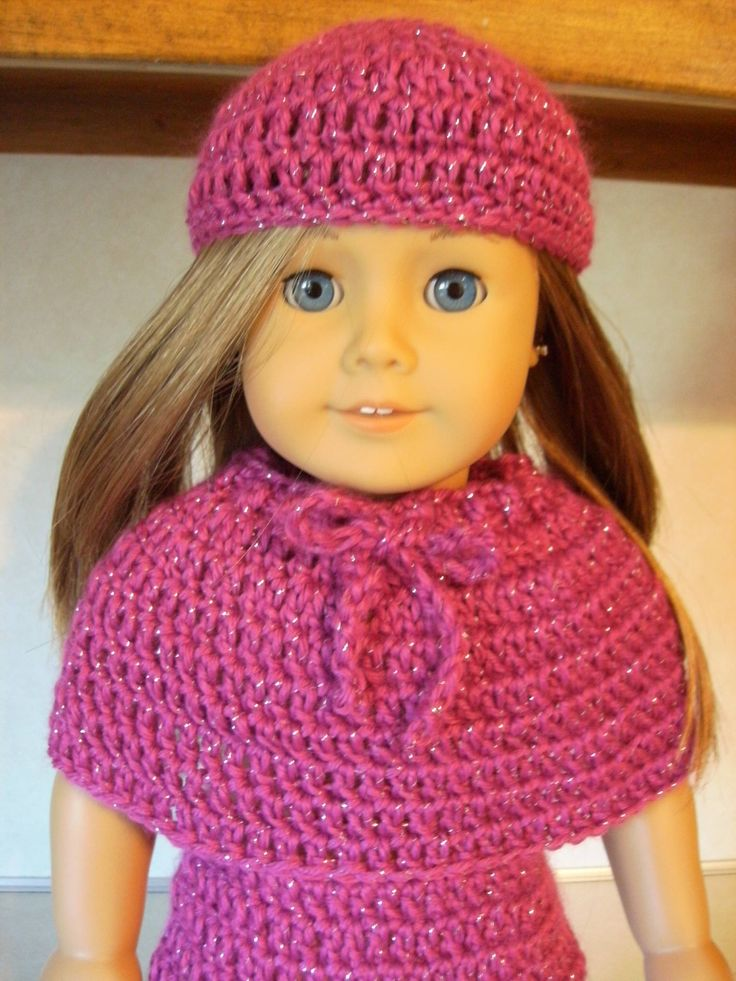American Girl Doll Beanie (cap). Free pattern for the cap; patterns for the rest of the outfit to follow in later articles. #American_Girl #Doll