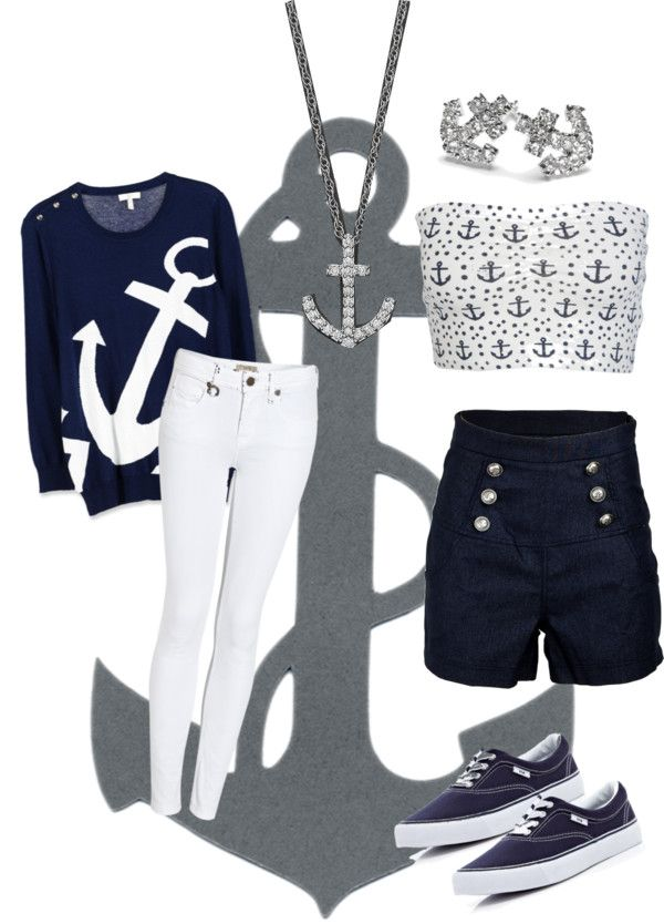 """""""Sailor/ Anchor Outfit"""" by littlebeecampbell ❤ liked on Polyvore"""