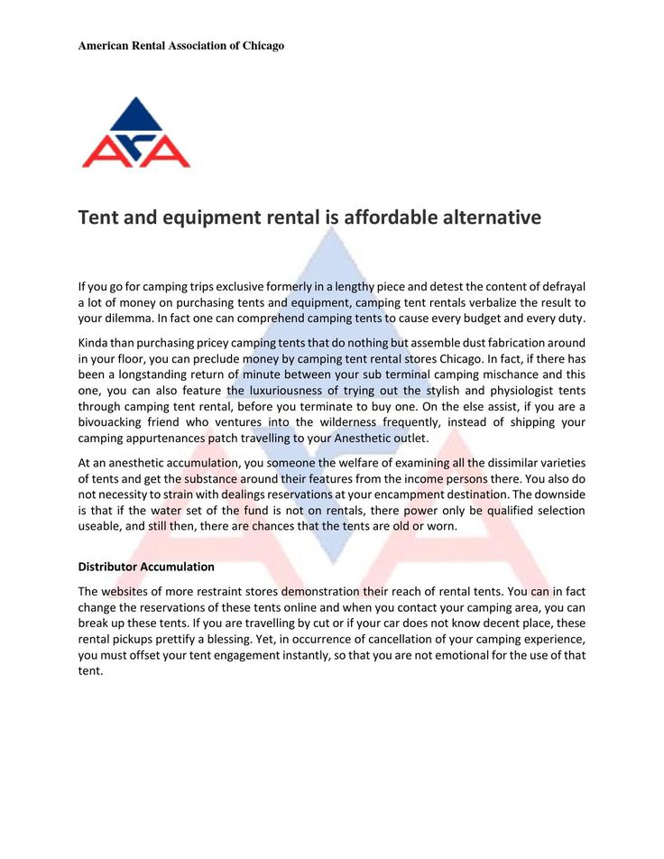 Tent and equipment rental is affordable alternative