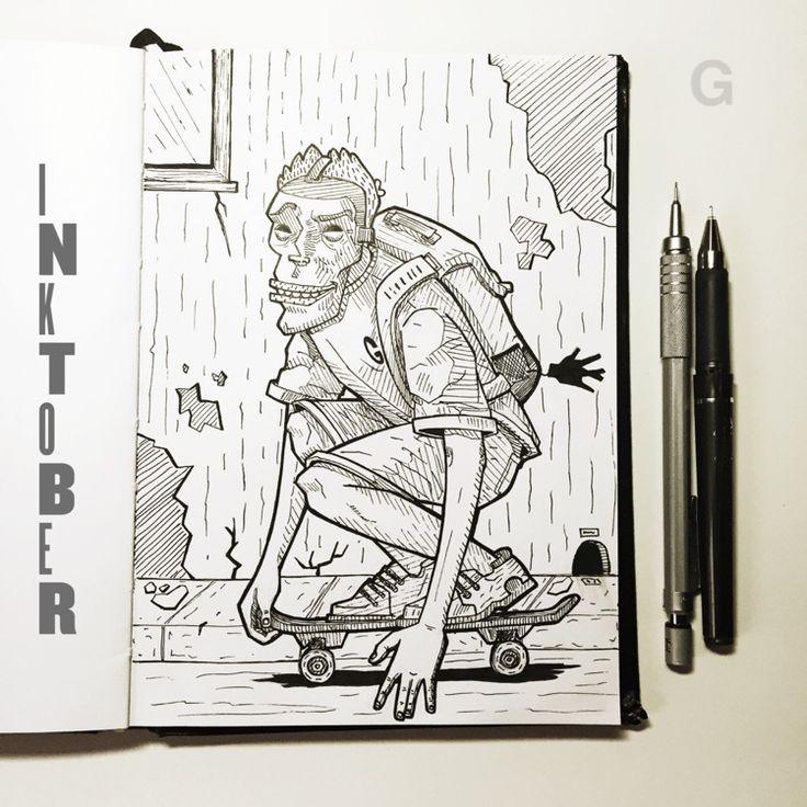 -23- #inktober #ink #illustration #inktober2015 #comics #backtothefuture #character #caricature #sketchbook #gutaart #sketch #topcreator #skate #mask #halloween