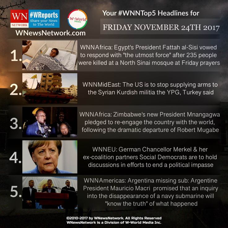 #TGIF and Happy Friday 😀😀 from your #WNews. With now just under one Month till #ChristmasEve🎄❄️, take out a cup of Eggnog & read your latest #WNNTop5🔝📰 for #November 24. Today's headlines includes News from Germany, Updates on #SyrianCrisis and latest updates on the #ZimbabweCoup