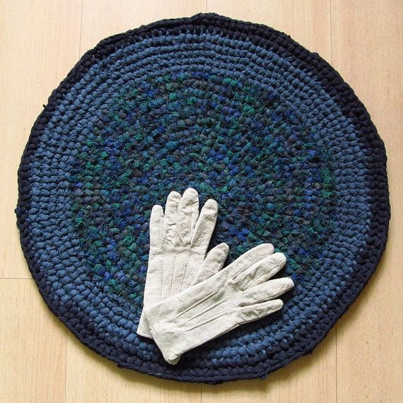 22 inch, round crochet rug, navy, green, greyblue, handmade, upcycled, eco, carpet, recycled #bestofEtsy #recycle
