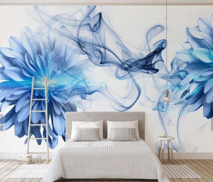 3D-Blautöne, Abstrakt, Aquarell, Blumentapete, Abnehmbare