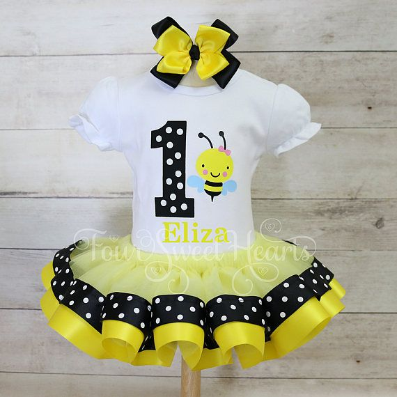 Bee Short Sleeve Top Skirt Child 1st Birthday Outfit Girls 2 Piece Outfit Set