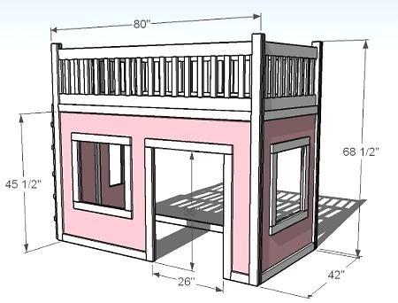 playhouse loft bed DIY by melba