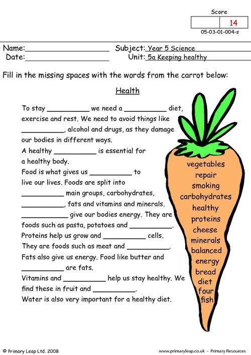 PrimaryLeap.co.uk - Health Worksheet | science | Pinterest ...