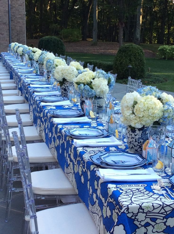 187 best Blue Table Styling images on Pinterest   Harvest table ...