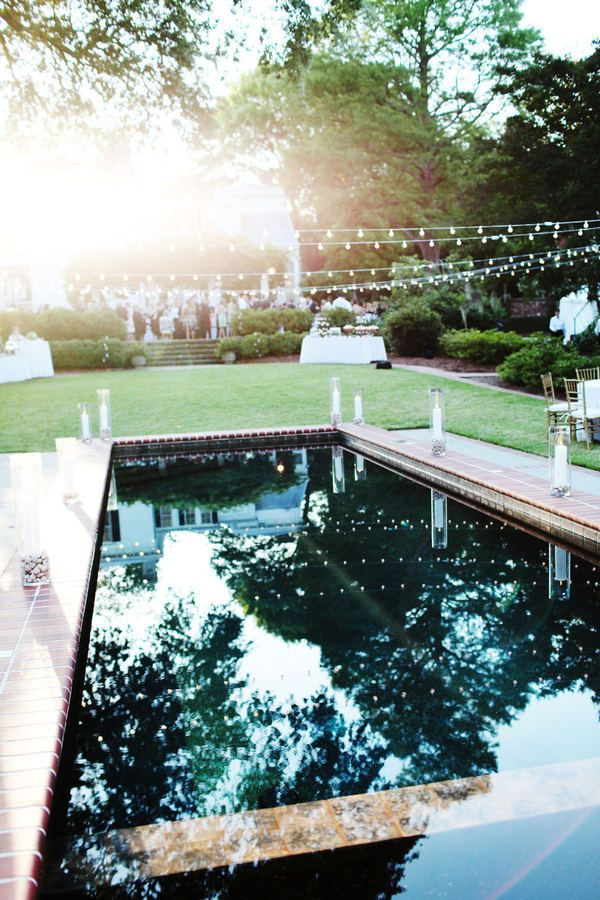 backyard pool, lights, candles. We could do this from the house to the fence, over the pool