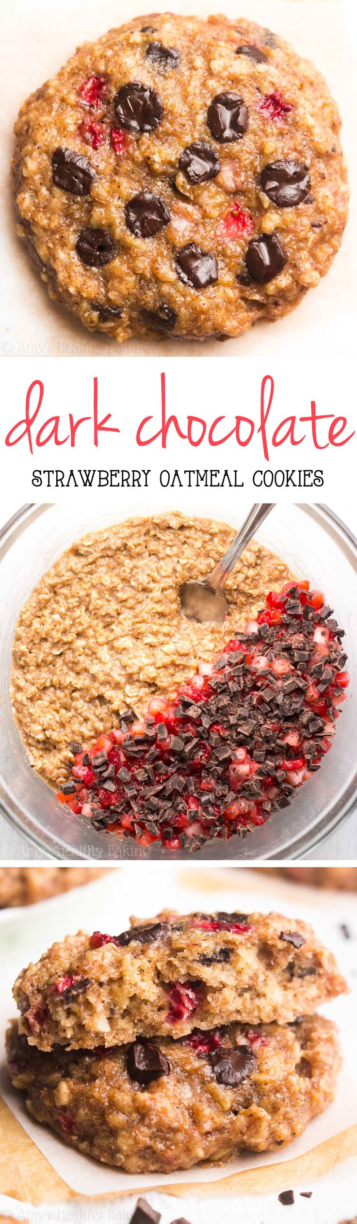 Clean-Eating Dark Chocolate Strawberry Oatmeal Cookies -- just 98 calories, but these skinny cookies don't taste healthy at all! You'll never need another oatmeal cookie recipe again!