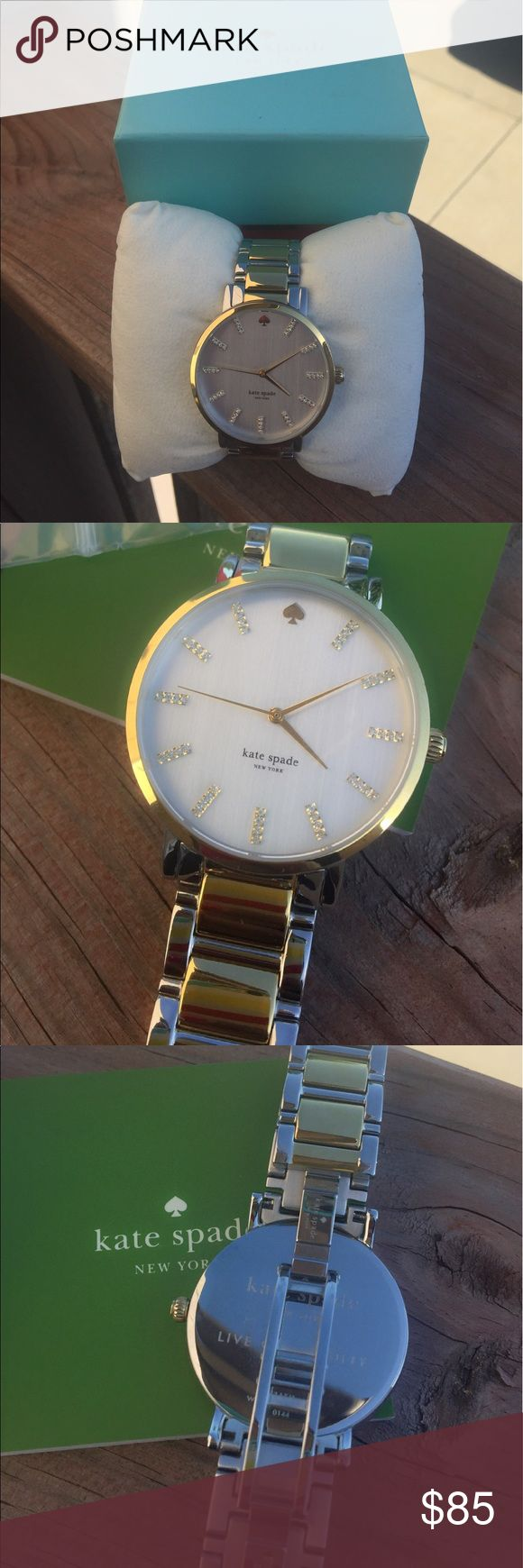 Kate Spade Gramercy Watch Authentic Kate Spade Gramercy watch. Beautiful two toned, in excellent slightly used condition. No scratches  or discoloration. Comes with the original box & tag. A link was removed which is also included. kate spade Accessories Watches