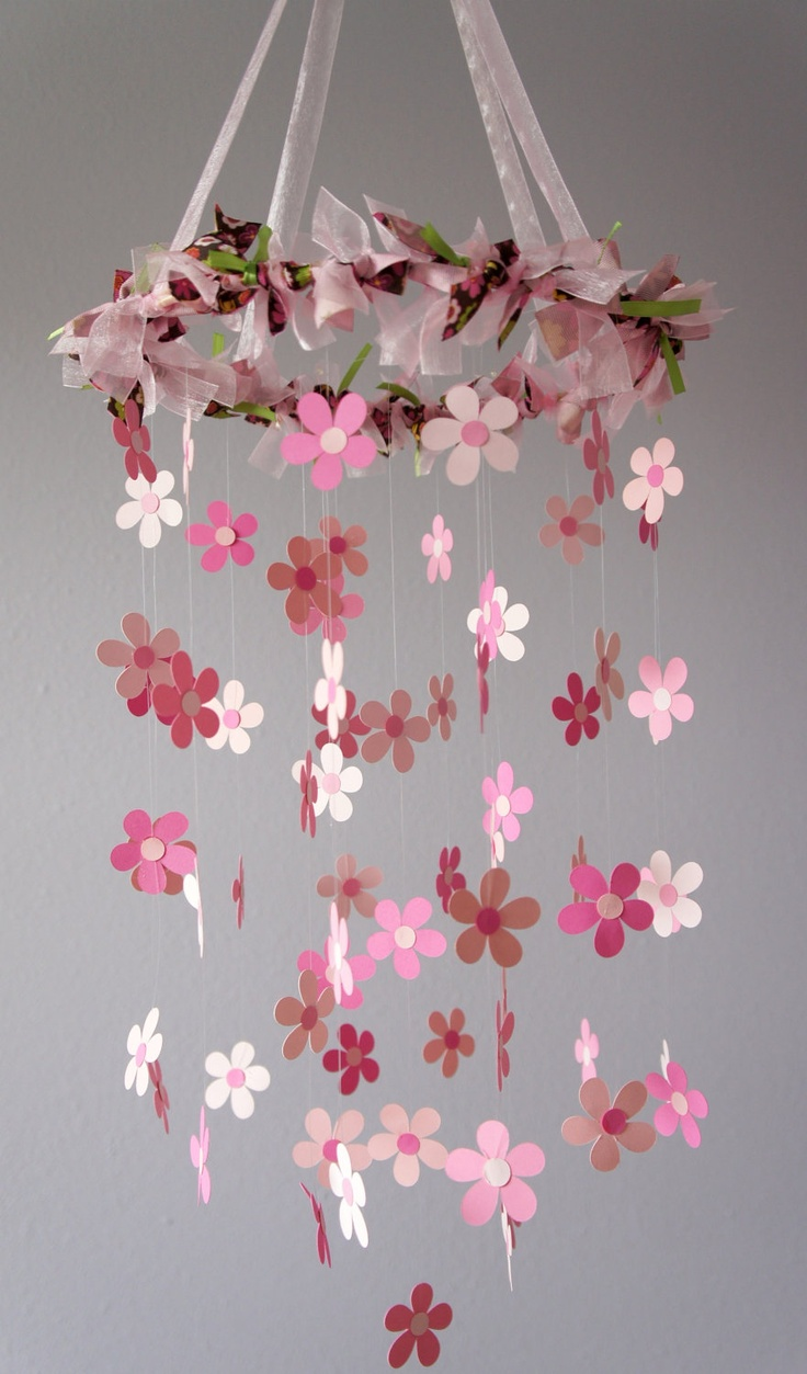 Pink Flower Mobile for Baby Girl Nursery by LoveBugLullabies. $54.00, via Etsy.