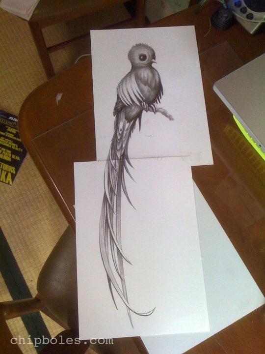 Draftophilamaniacal Neoretrography Queztal Tattoo Design