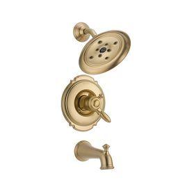 Delta Victorian Champagne Bronze 1 Handle Watersense Bathtub And Shower  Faucet Trim Kit With Rain Showerhead T17455 Czh2