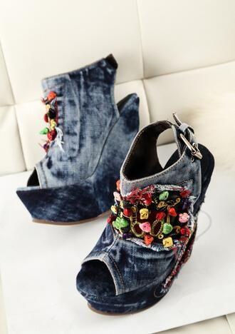 Deep Blue Jeans Sandalias Peep Toe de Tacón Alto de la Cuña de Talón Sandalias de Cuña de la Plataforma Mujeres Jeans Zapatos de Colores Con Cuentas Crsytal