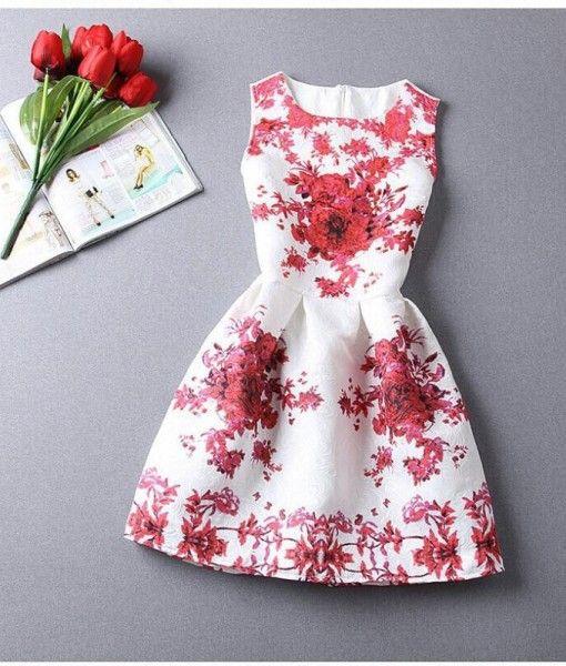 A-Line Printing Sleeveless Casual Dress