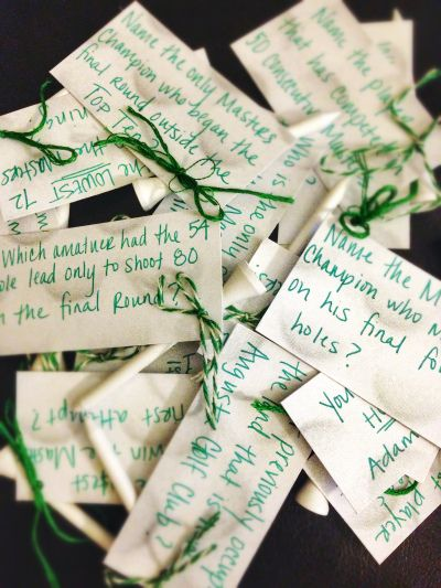 Masters Golf Trivia for my husband, tied to golf tees, hidden around the house! Great game for a golf themed party!