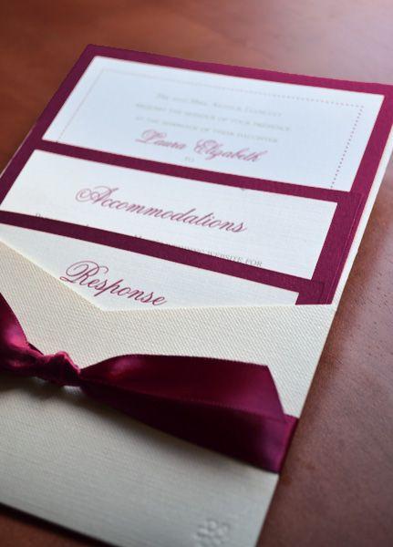 Burgundy and Cream Pocket Enclosure Wedding Invitation
