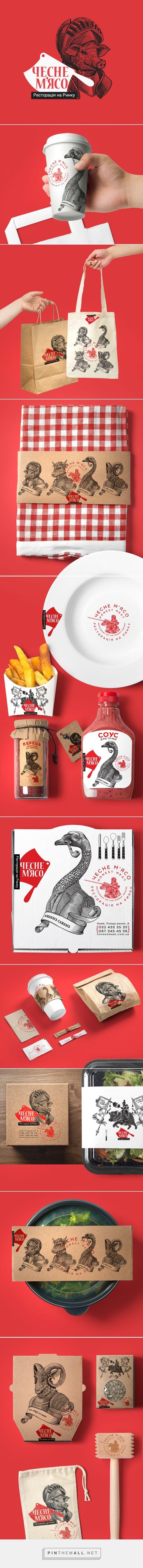 Honest Meat on Behance by Yaroslav Shkriblyak, Ivano-Frankivsk, Ukraine curated by Packaging Diva PD. Odd but visually interesting packaging branding for meat restaurant in Lviv. Art direction, branding, Illustration.