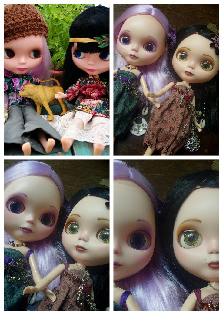 Before And After - My first customized Basaak Blythe dolls. The pic on top left is the last pic I took of the dolls before customizing them.  Customizing: sanding, full face and eyelid repaint, change of eyelashes, change of pullrings, sleep eyes, gaze correction, one pair of handpainted eye chips for each doll, ear piercing. They are wearing dresses and jewelry made by me as well, but I am creating two new complete outifts to celebrate the customizing.
