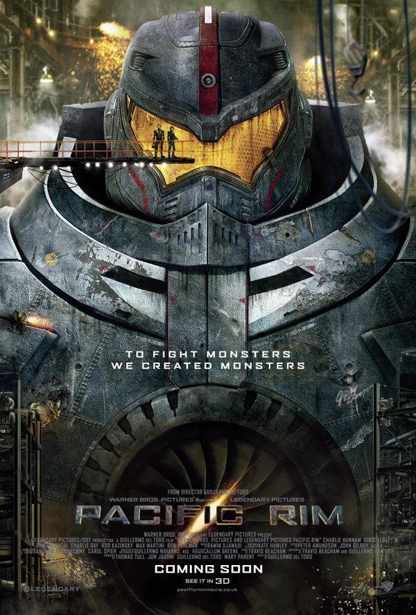 Pacific Rim, de la imaginación de Guillermo del Toro. En este poster parece la adaptación de Mazinger Z o Evangelion ¿No?
