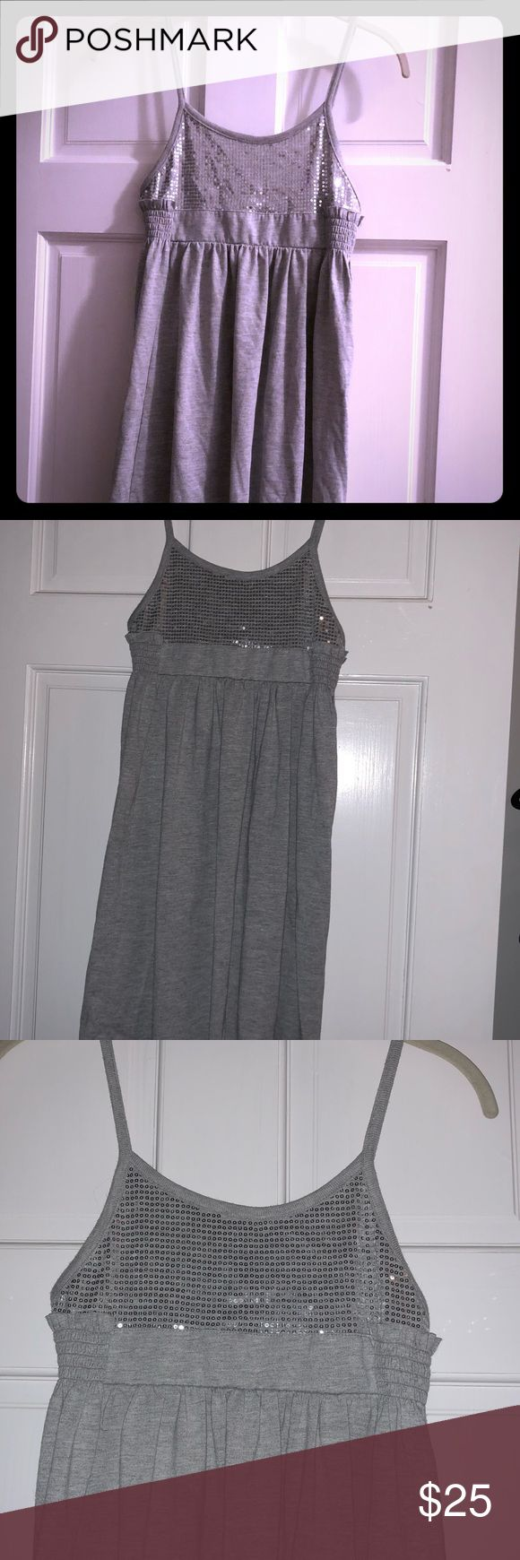 French connection dress/top French connection silver & sequin dress/top Wear just as a dress or with a pair of leggings  Brand new with tags Size large-Fits medium French Connection Dresses Midi