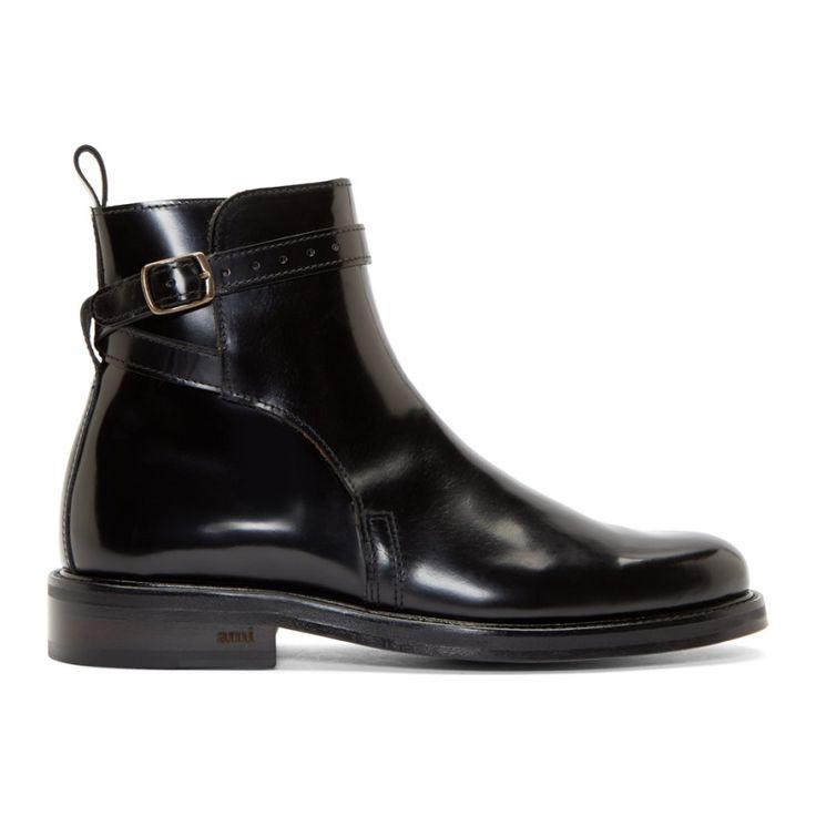 AMI Alexandre Mattiussi Black Leather Buckled Boots