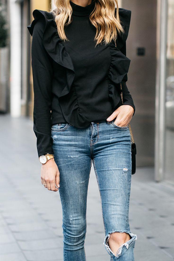 Fashion jackson street style black long sleeve ruffle top denim