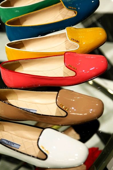 Patent Prada Loafers: Smoke Slippers, Patent Leather, Formal Dresses, Spring Colors, Prada Flats, Patent Prada, Prada Loafers, Flats Shoes, Prom Dresses