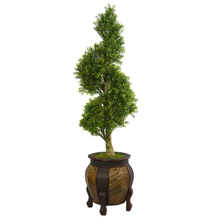 Nearly 4.5' Boxwood Spiral Topiary Artificial Tree in Decorative Planter
