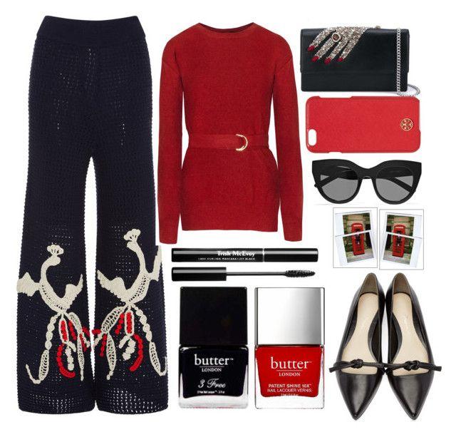 """Tabula Rasa Wide-Leg Trousers"" by juliehalloran ❤ liked on Polyvore featuring Tabula Rasa, Alexander McQueen, Tory Burch, Le Specs, Polaroid, 3.1 Phillip Lim and Butter London"