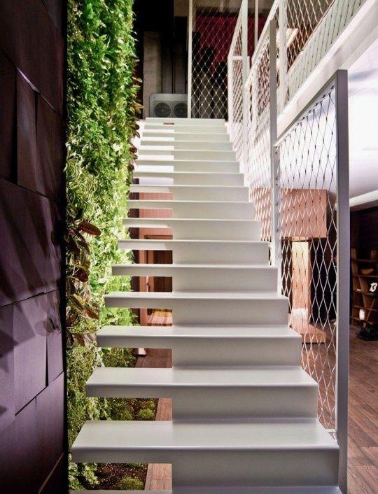 Cool White Staircase ideas para su inspiración Blanco Escalera moderna para el diseño interior #mallas #metálicas