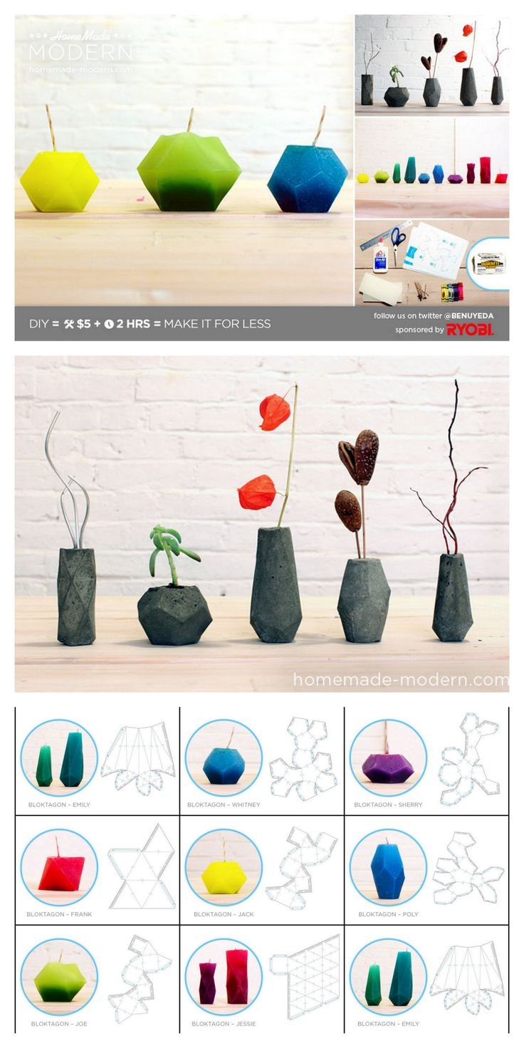 DIY Geometric Candles or Concrete Vases Tutorial and Templates from HomeMade…